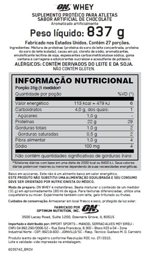 100% ON Whey (824g 1.82lbs) - Optimum Nutrition - Lado Atleta 3306732d5af5d